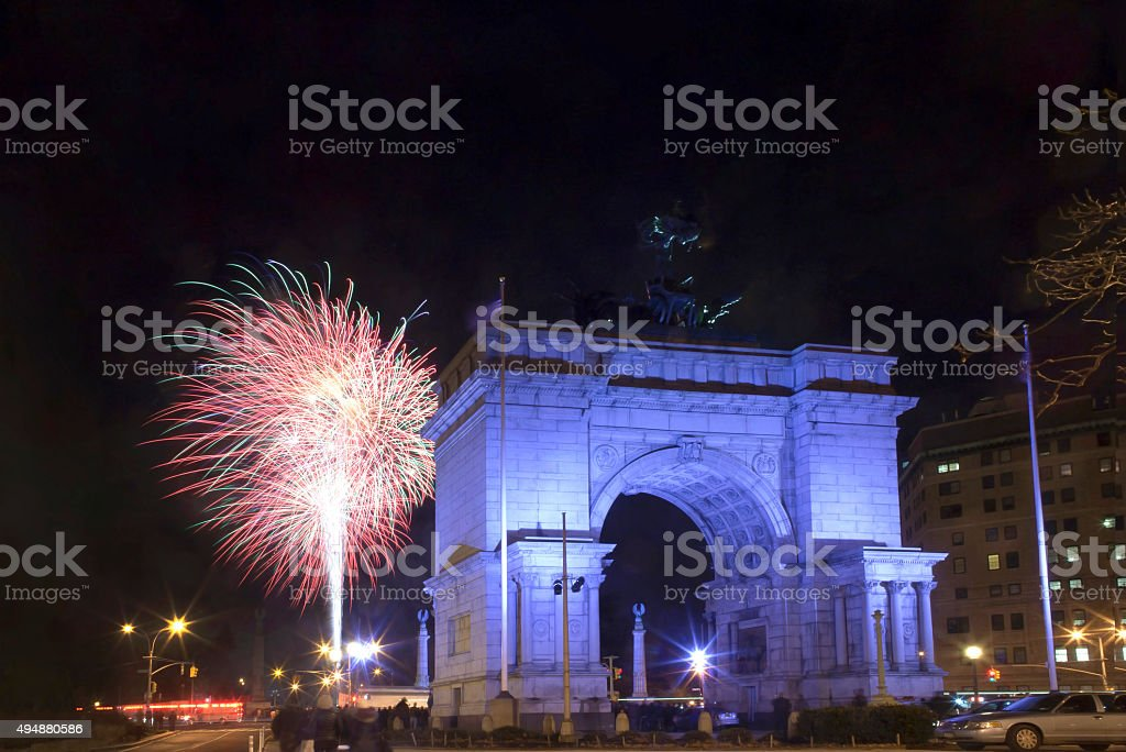 Soldiers and Sailors Arch New Year's Eve fireworks stock photo