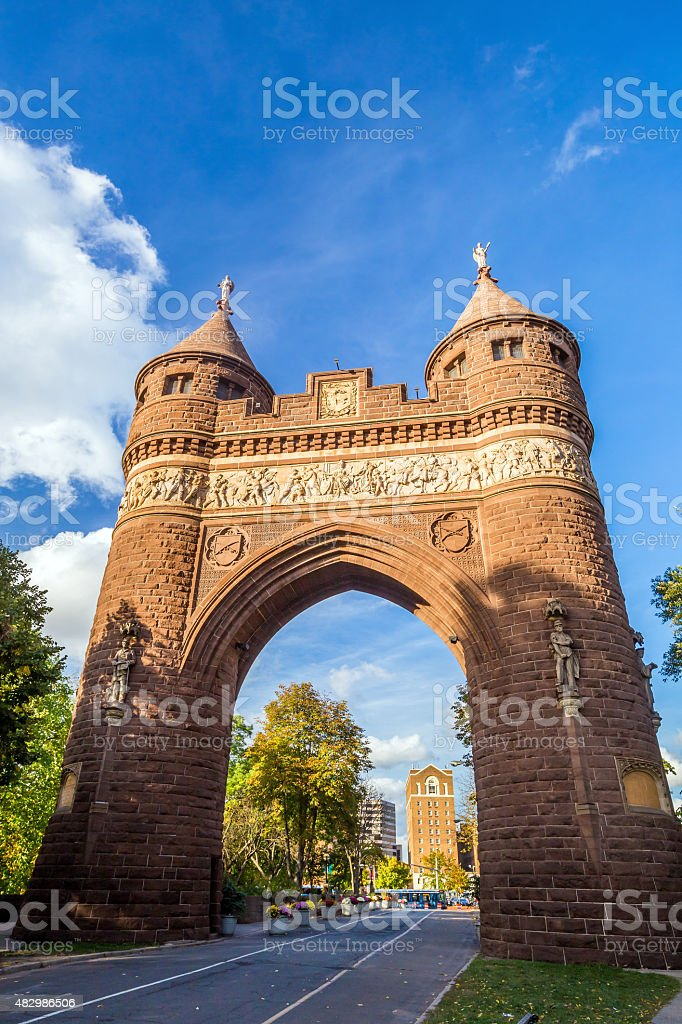 Soldiers and Sailors Memorial Arch in Hartford. stock photo