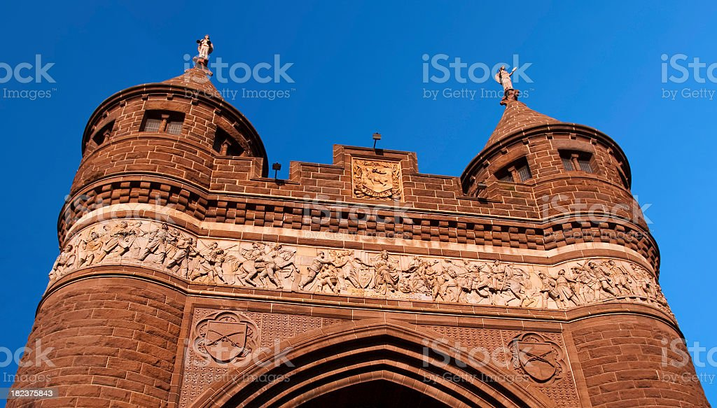 Soldiers and Sailors Memorial Arch with Medieval Towers in Hartford stock photo