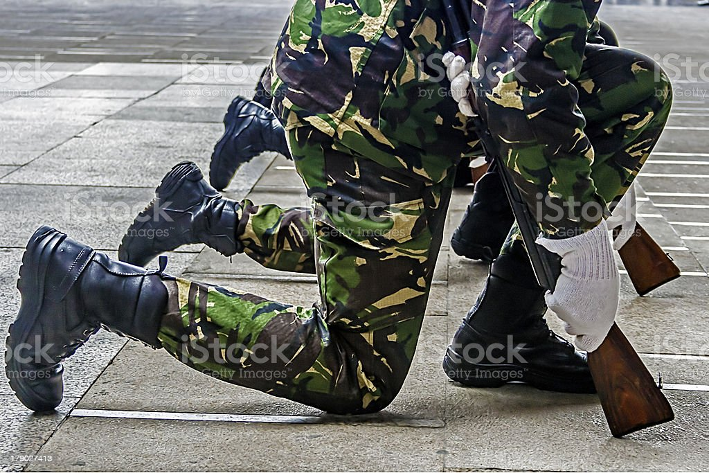 Soldiers and weapons royalty-free stock photo