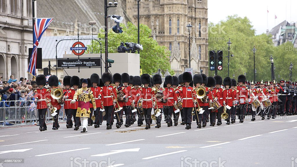 Soldiers at the Queen's Diamond Jubilee State procession royalty-free stock photo