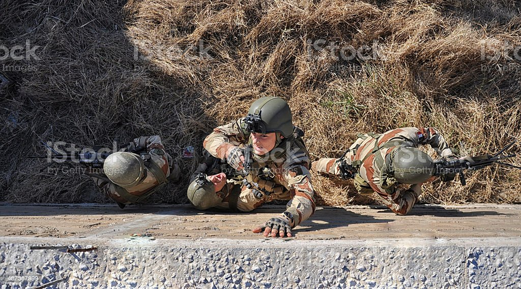 Soldier's attack stock photo