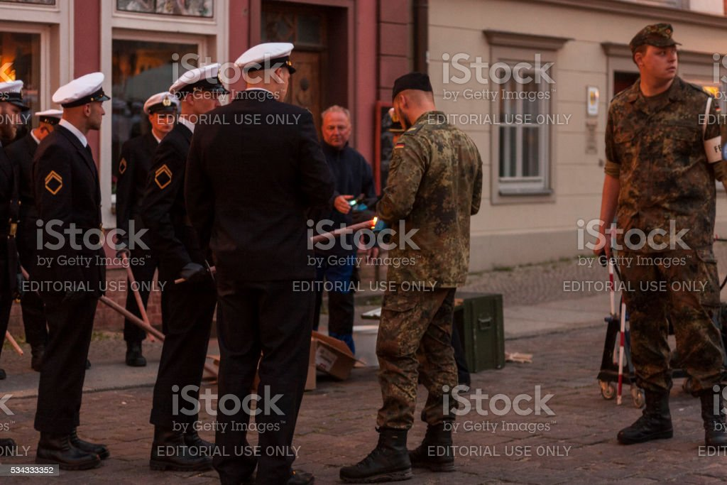 Soldiers attending a swearing-in ceremony in Stralsund stock photo