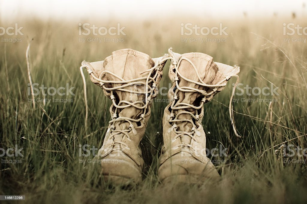 Soldier's boots stock photo