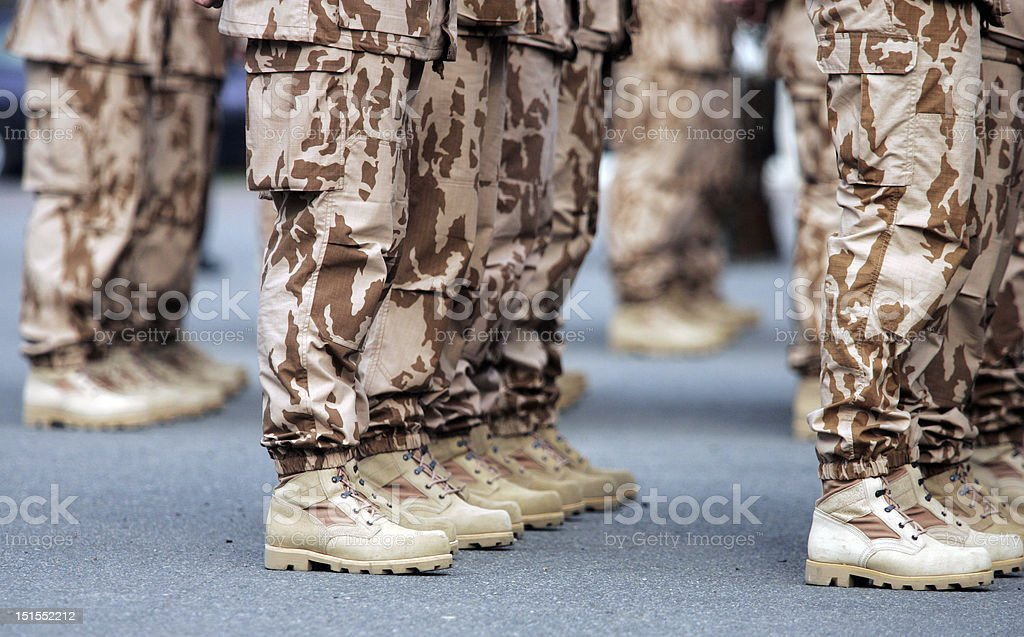 soldiers boots stock photo