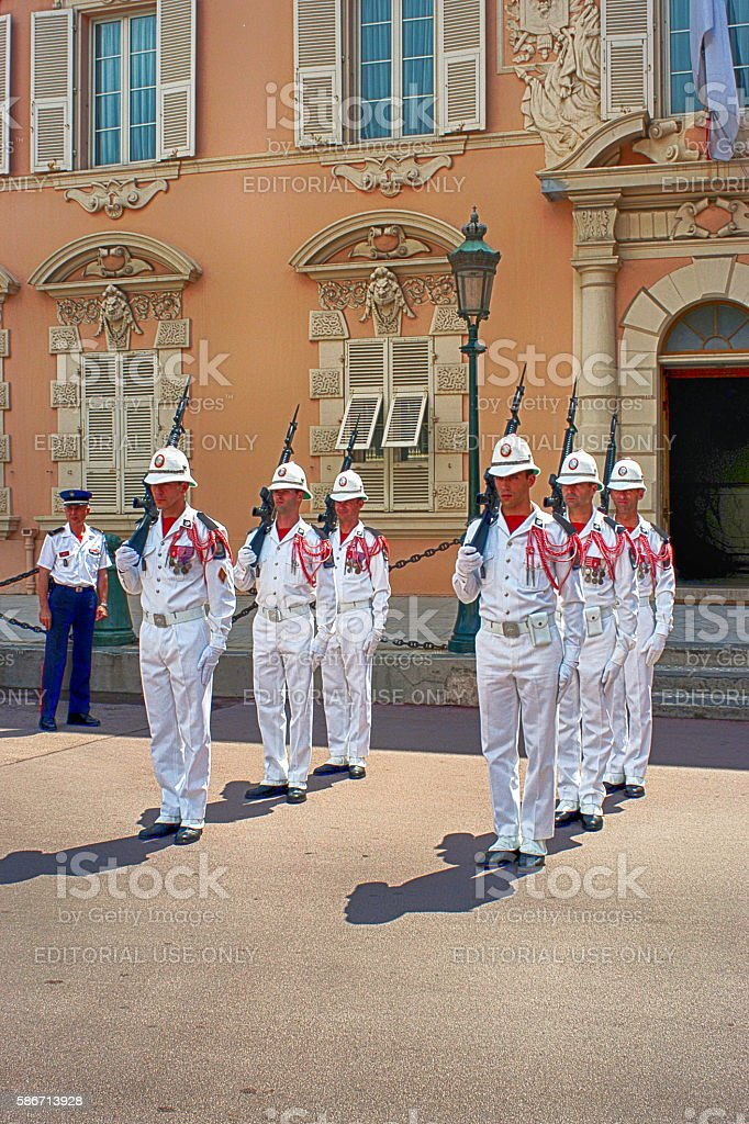 Soldiers changing the guard at the Royal Palace in Monaco stock photo