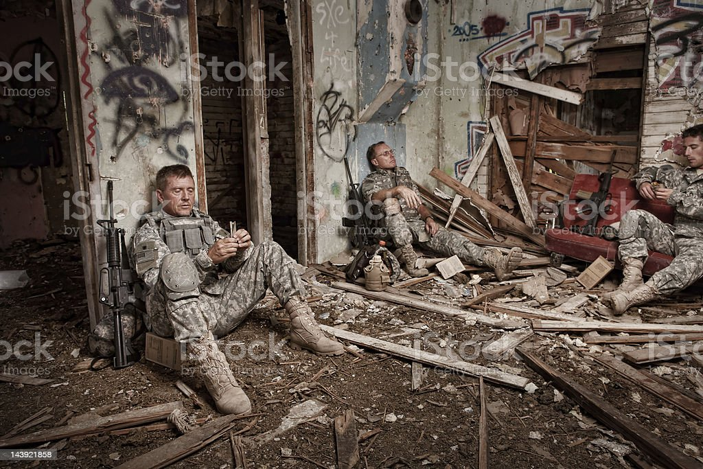 Soldiers Enjoy a Little R&R royalty-free stock photo