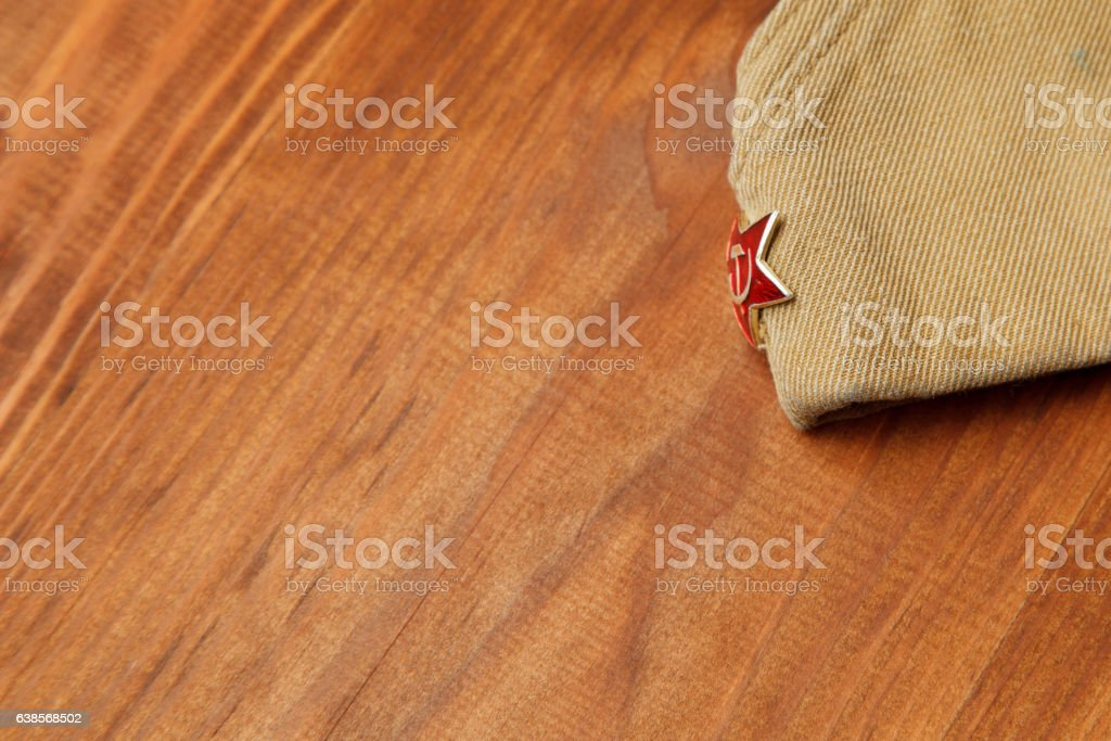 Soldier's forage cap with a red star. stock photo