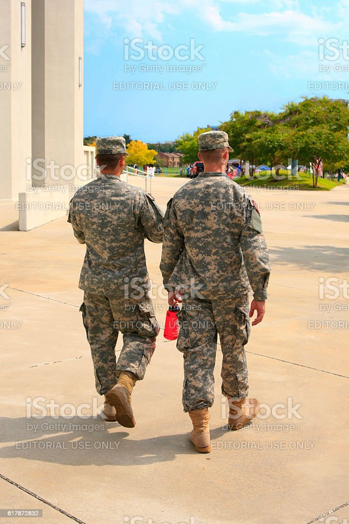 Soldiers from the National Guard at the Citadel, Charleston SC stock photo
