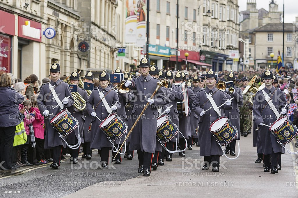 Soldiers from the Royal Logistic Corps march through Chippenham royalty-free stock photo