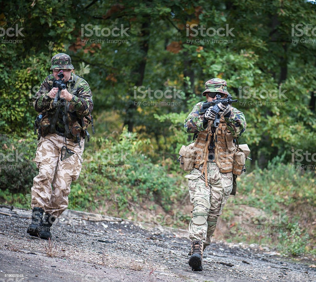 Soldiers in Action stock photo