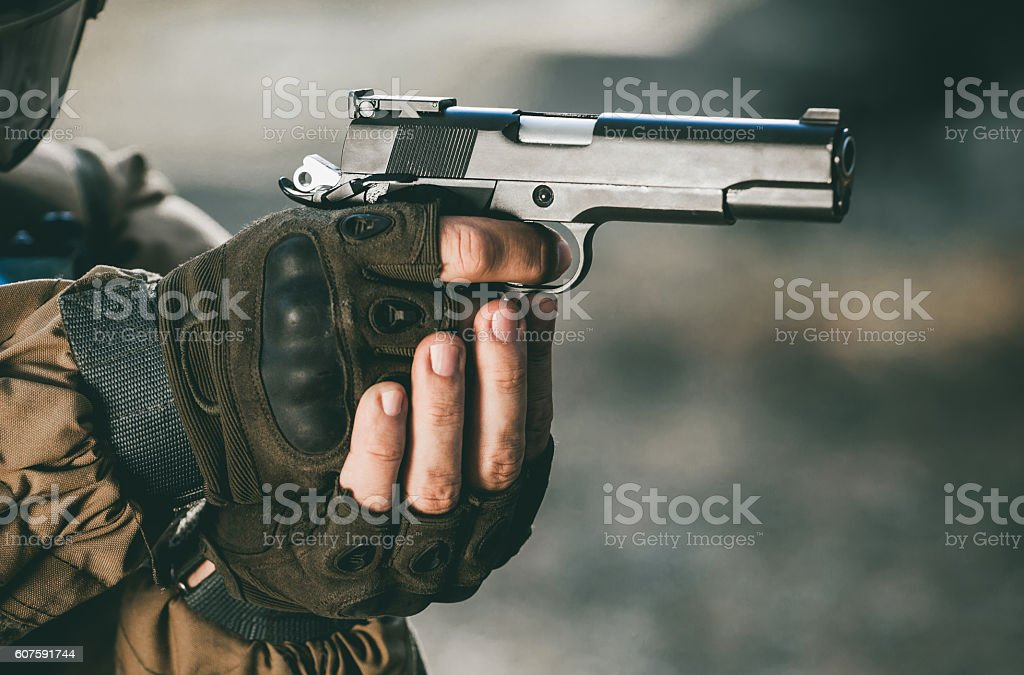 Soldiers in combat missions. stock photo