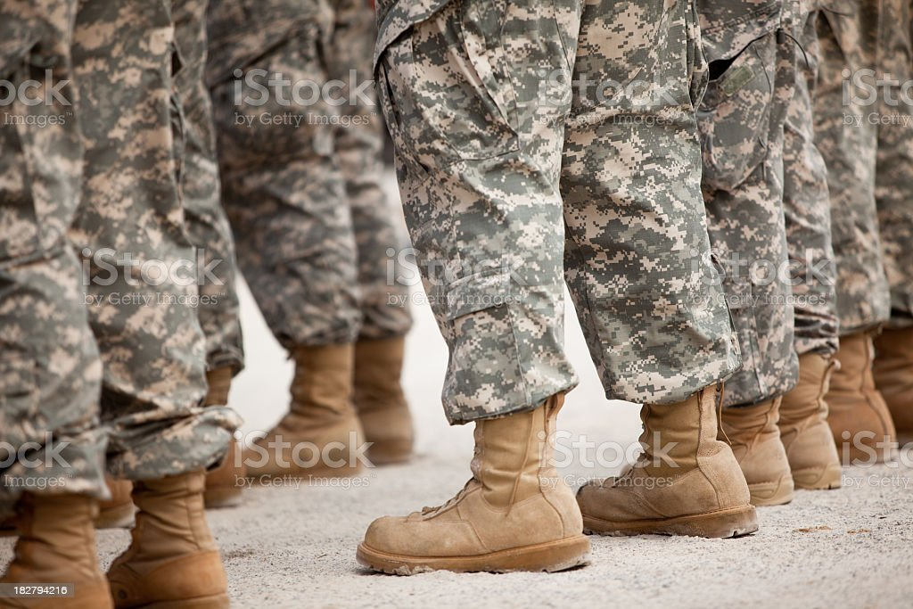 Soldiers in formation stock photo