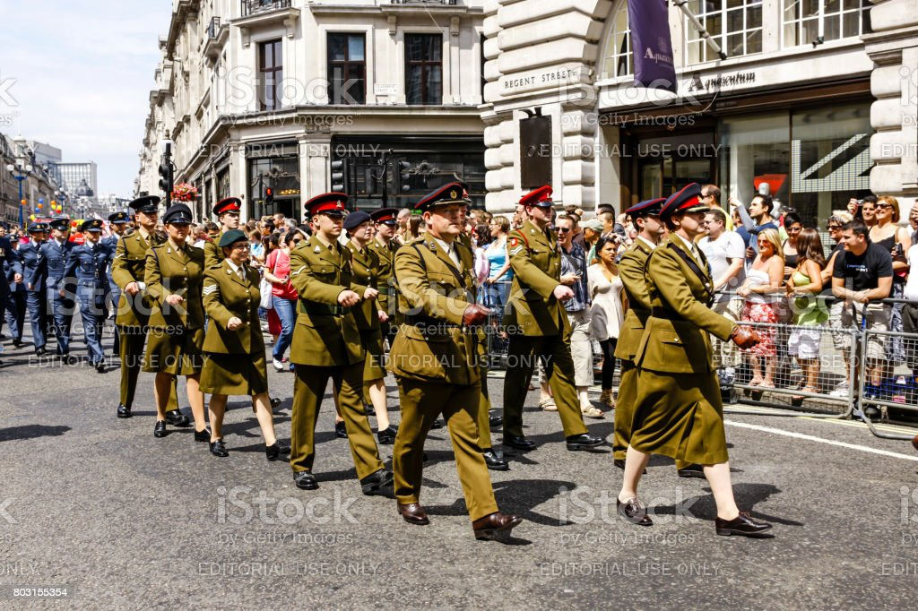 Soldiers in the British Army march in the Armed Forces day parade in London UK stock photo