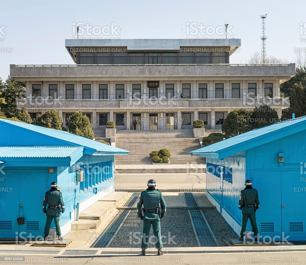 Soldiers in the Demilitarized Zone between North and South Korea stock photo