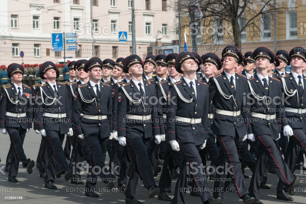 Soldiers in uniform are at rehearsal of Military Parade stock photo