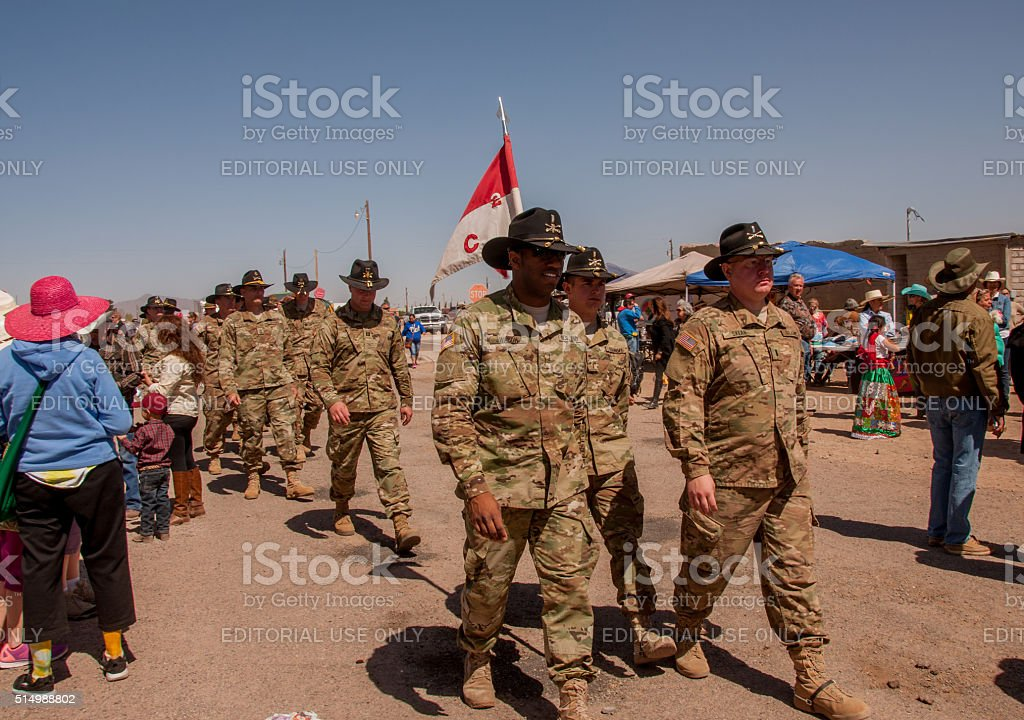 Soldiers March at Pancho Villa Event stock photo