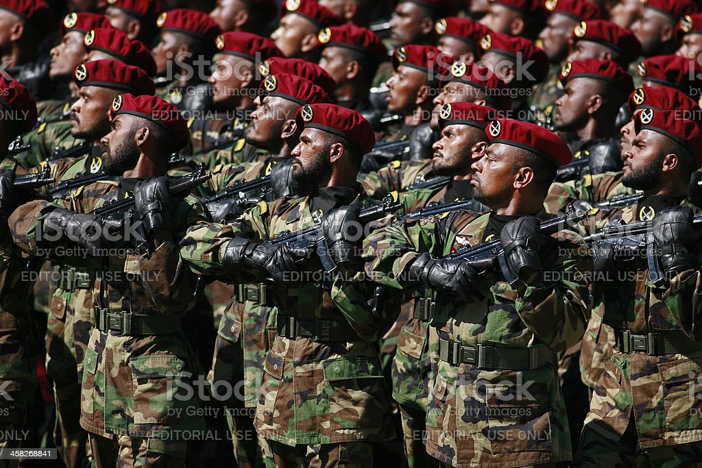 soldiers march during a parade royalty-free stock photo