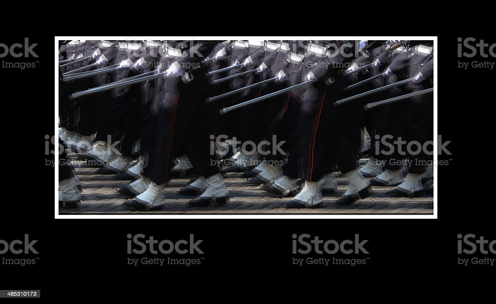 Soldiers marching on 14th July in Paris stock photo