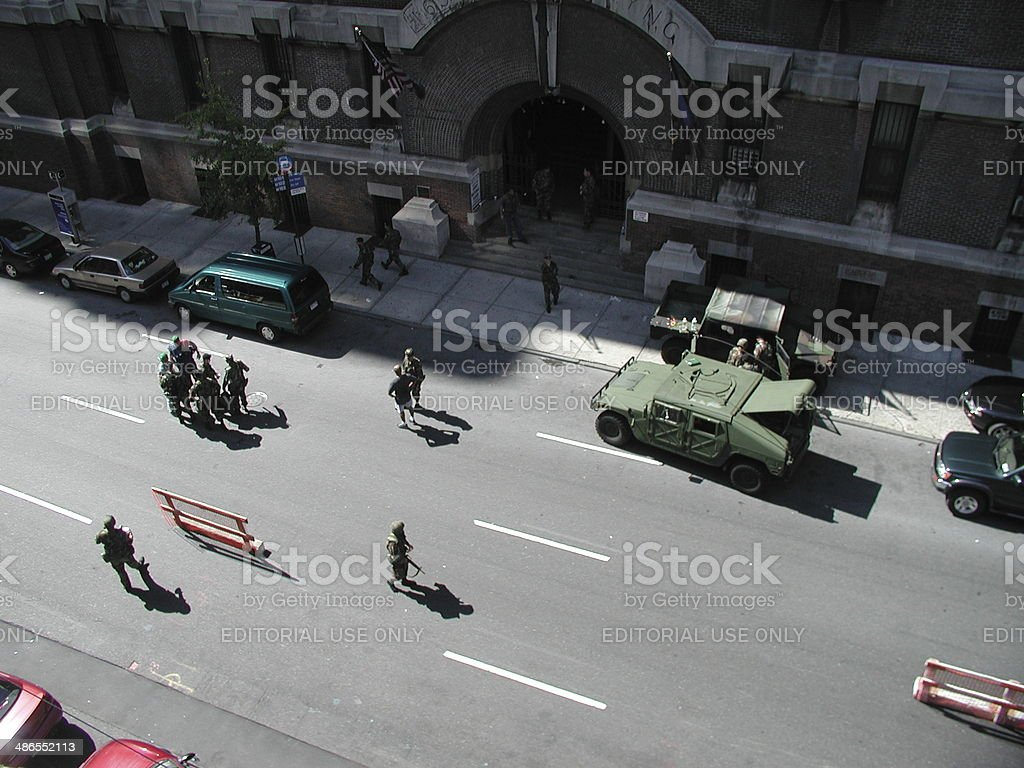 Soldiers mobilize infront of the Armory on 26th street. stock photo