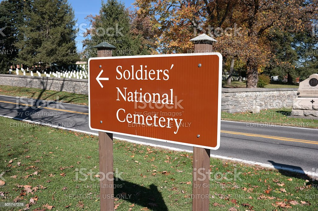 Soldiers National Cemetery Sign stock photo