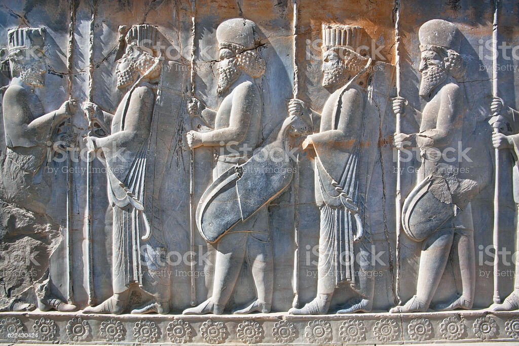 Soldiers of historical empire in ancient city Persepolis, Iran stock photo