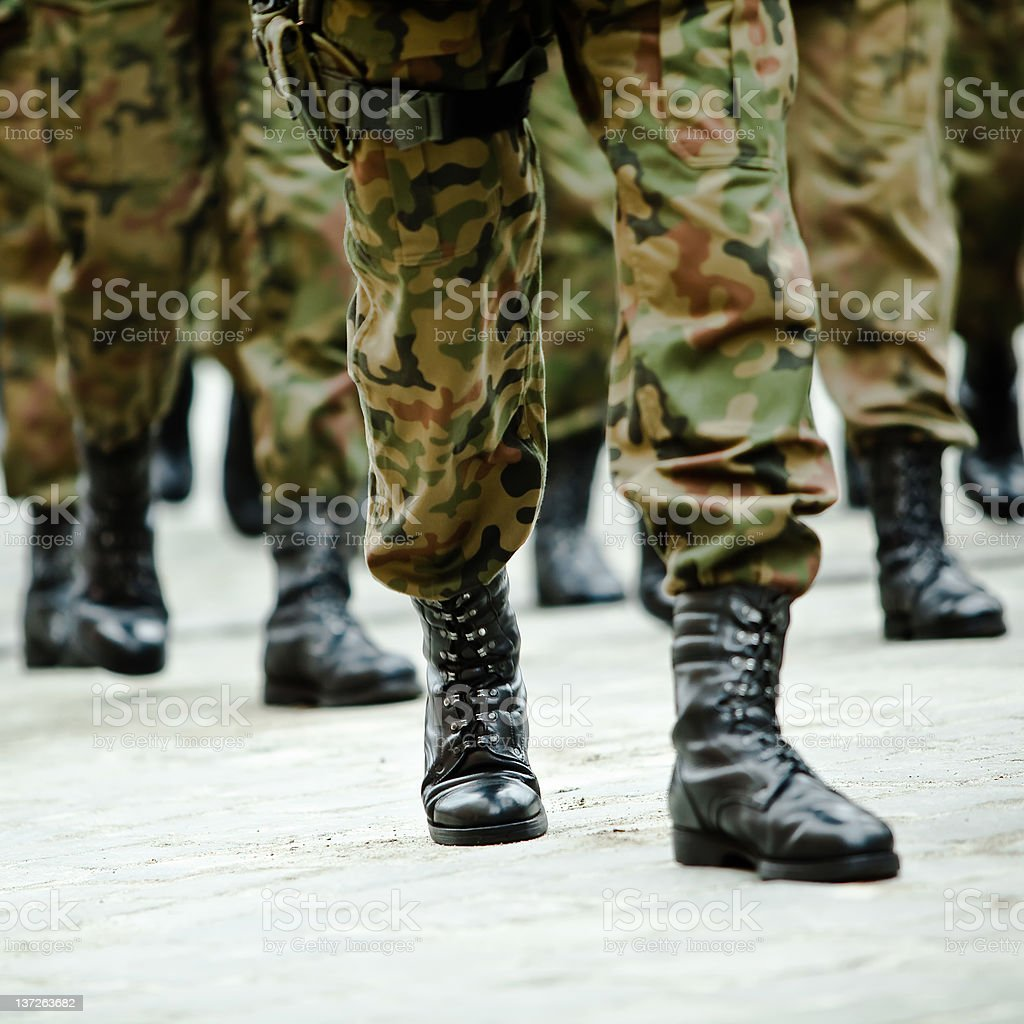Soldiers of the armed forces marching stock photo