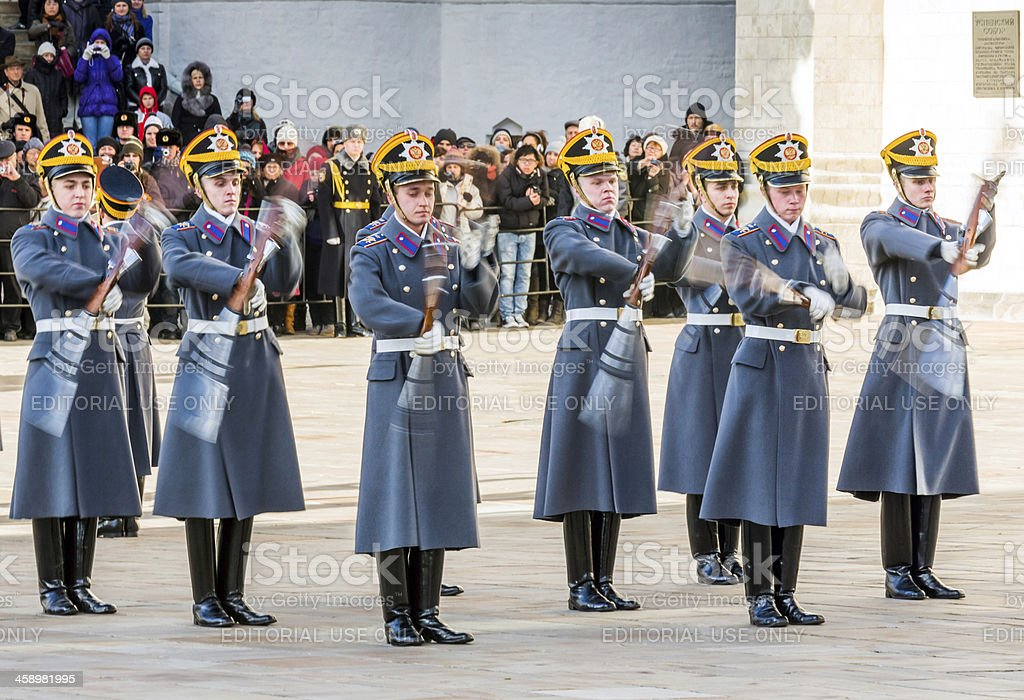 Soldiers of the Presidential Regiment performing with weapon royalty-free stock photo