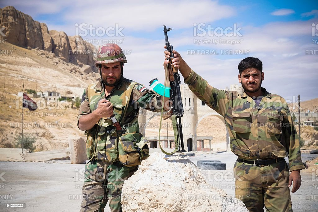 Soldiers of the Syrian National Army checkpoint near Ma'loula stock photo