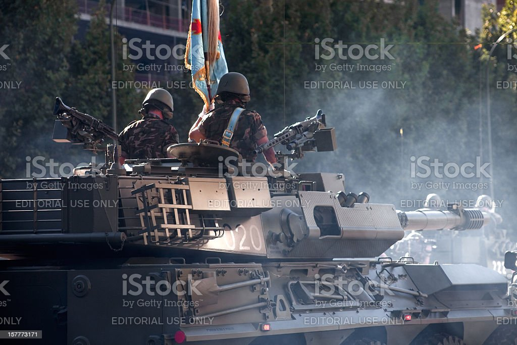Soldiers on a tank stock photo