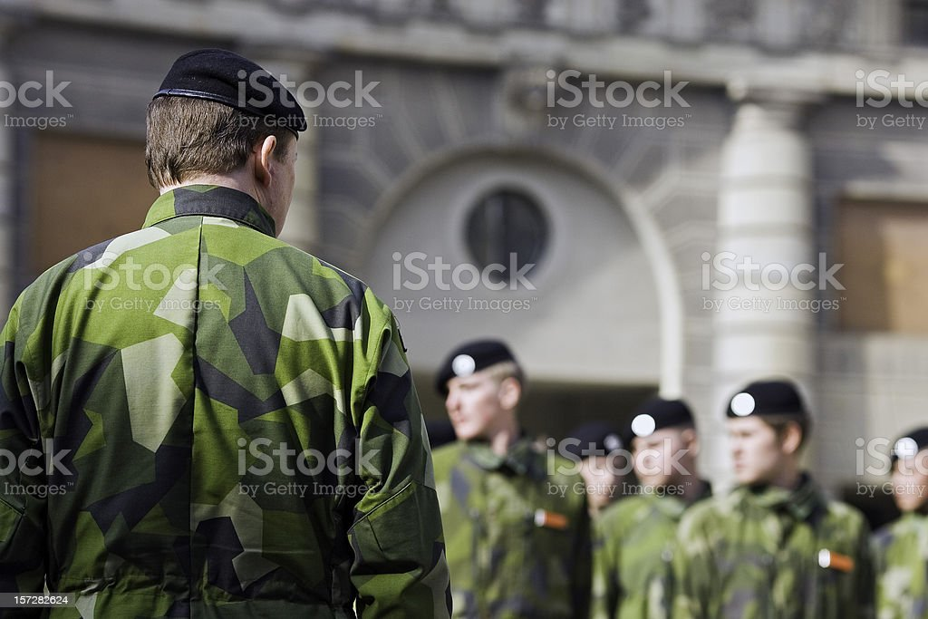 Soldiers on parade (Stockholm, Sweden) royalty-free stock photo