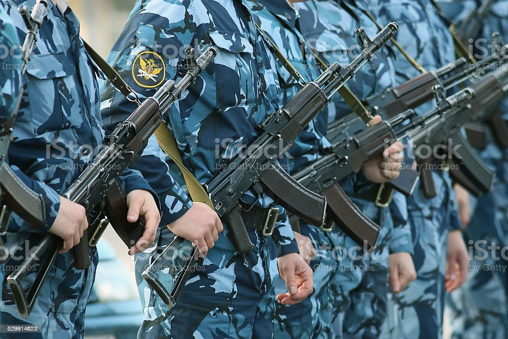 soldiers on parade weapon camouflage military stock photo