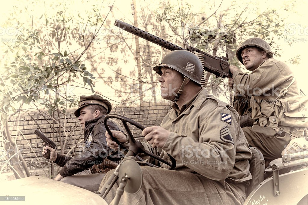 WWII Soldiers on Patrol for the Enemy stock photo