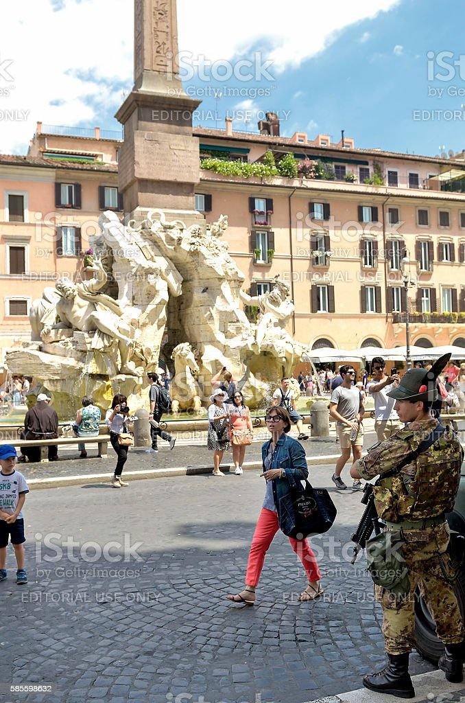 Soldiers on patrol in Piazza Navona in Rome stock photo