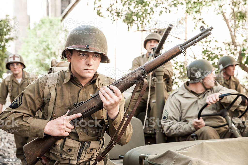 WWII Soldiers on Patrol stock photo