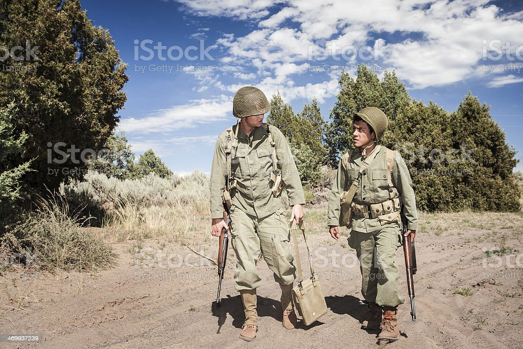 Soldiers on Patrol WWII stock photo