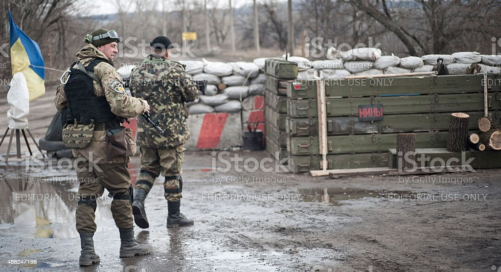 Soldiers on position stock photo