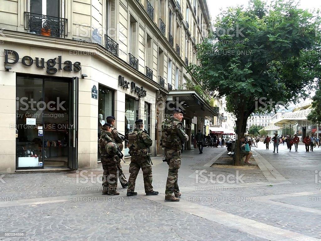 Paris, France - August 11, 2016: Soldiers patrolling. stock photo