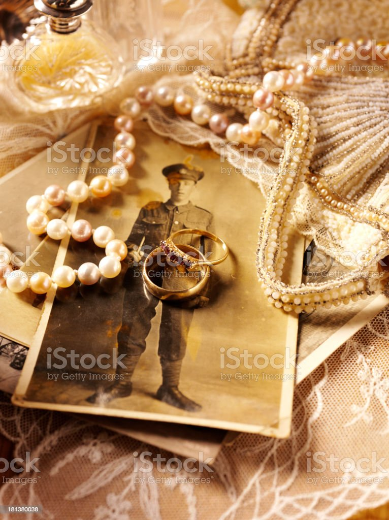 Soldiers Photograph with Antiques stock photo