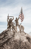 Soldiers Raising the US Flag