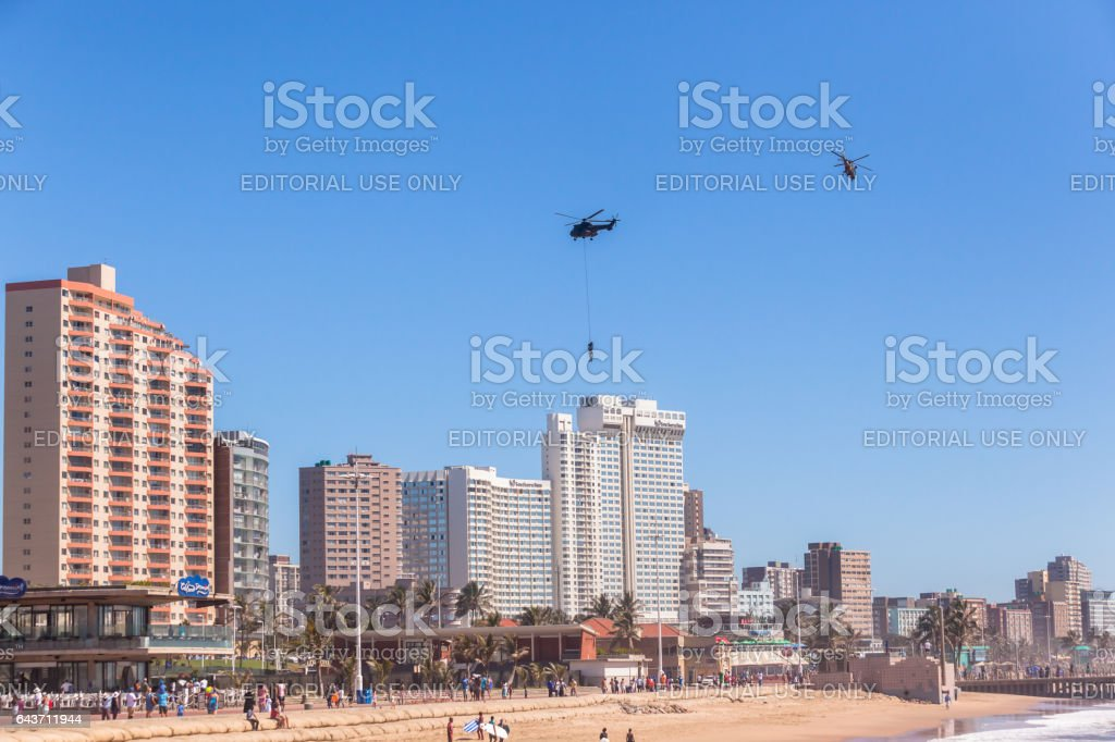 Soldiers Rope Flying Helicopters Durban stock photo
