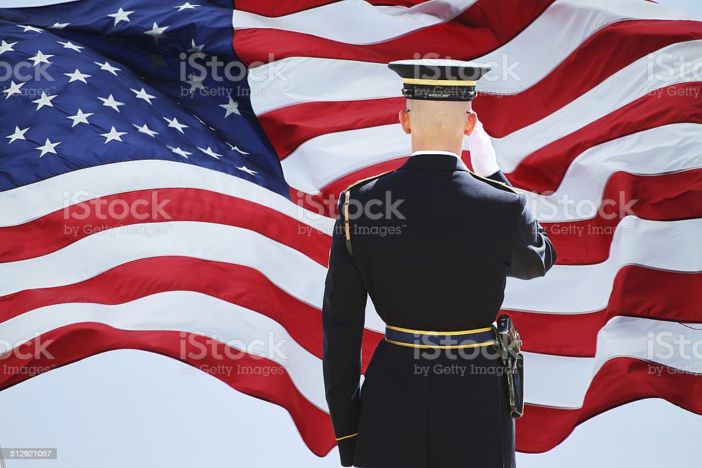Soldier's Saluting stock photo