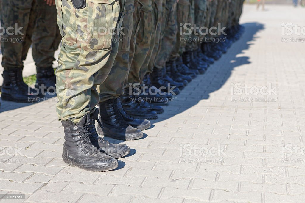 Soldiers standing in a row stock photo