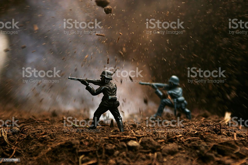 Soldiers Under Attack stock photo