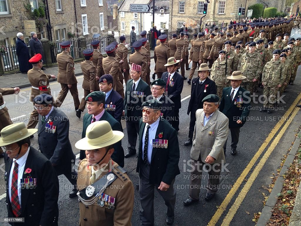 Soldiers, veterans and cadets marching stock photo