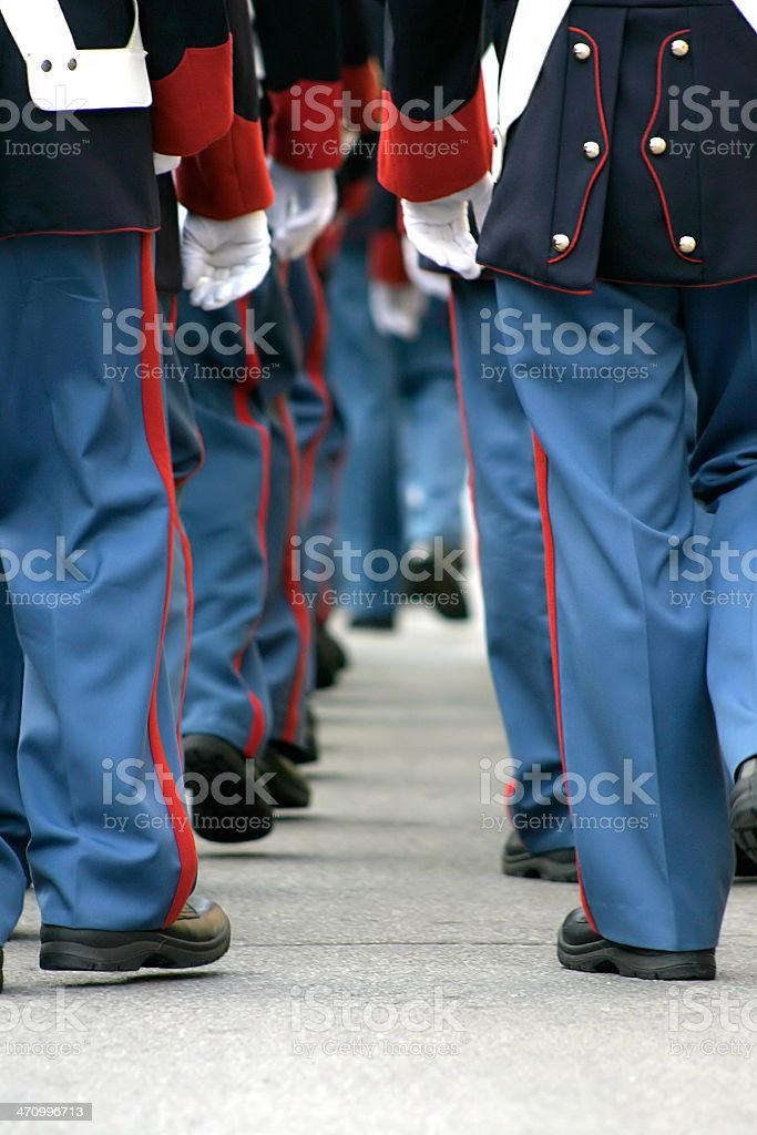 soldiers walking away royalty-free stock photo