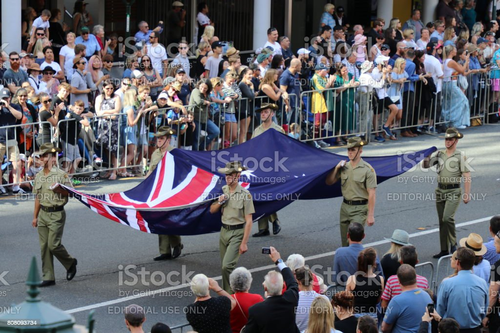 Soldiers with Australian Flag stock photo