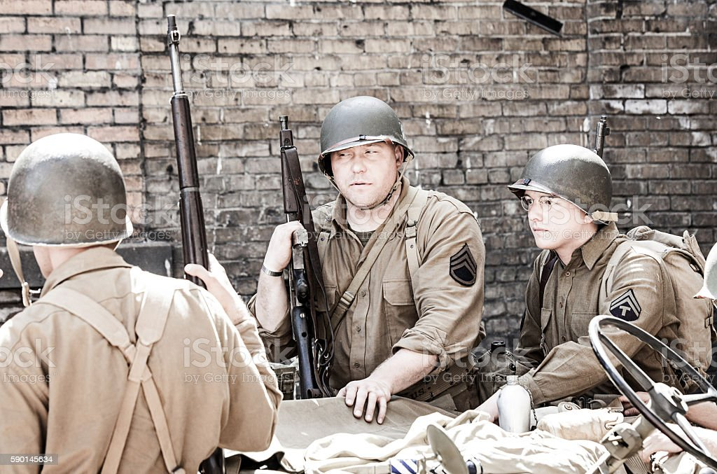 Soldiers WWII stock photo
