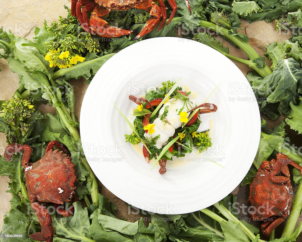 sole and crab with sea kale stock photo