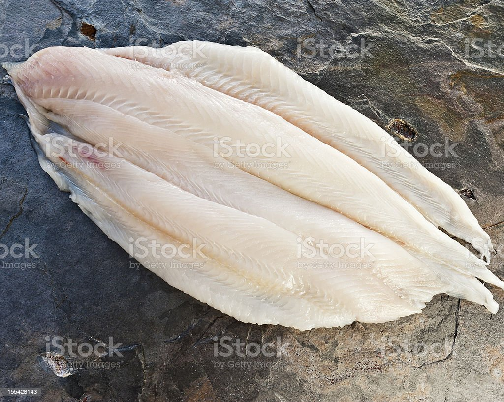 Sole fillets on a countertop spread open stock photo